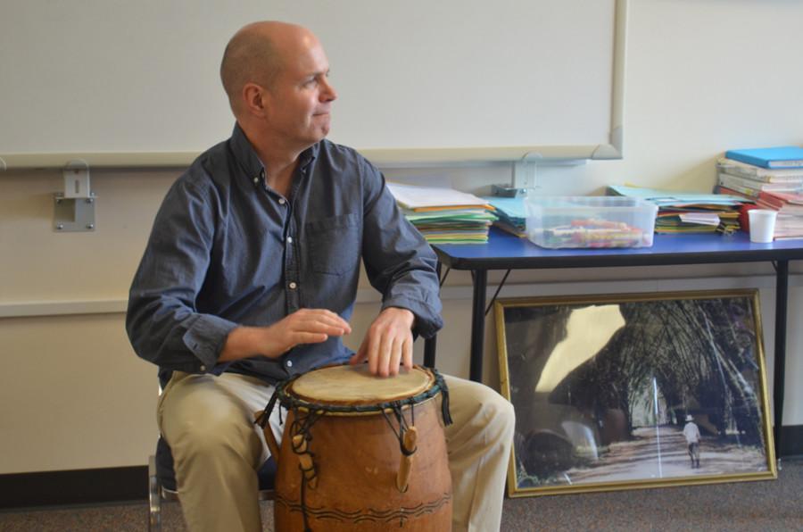 Owen swings, dances in classroom
