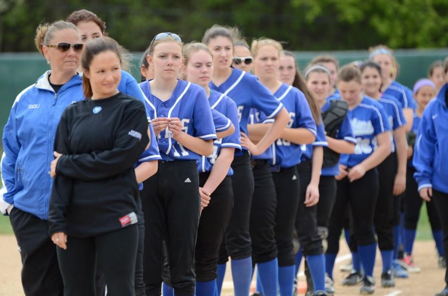Girls softball underclassmen support the seniors on senior day 2015.