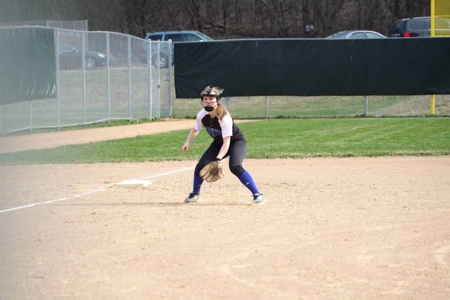 Hannah Kleist, junior captain, fields a ground ball at third base