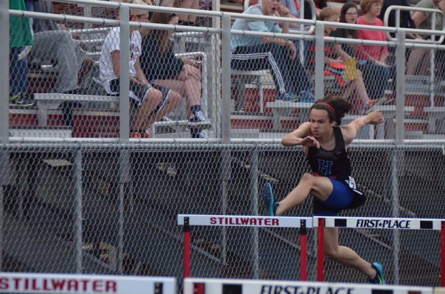 Parker+Brown%2C+senior%2C+runs+the+110+meter+hurdles+at+the+True+Team+State+meet.