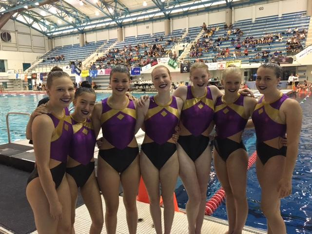 Maggie Cleary, senior, (third from right) celebrates with her team at the Junior Olympics.