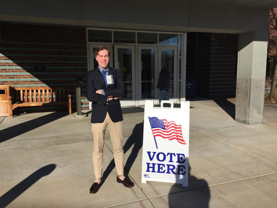 John Vaaler, junior, stands by the entrance of Minnetonka Community Center. At the Center, Vaaler worked as a student Election Judge for Minnetonka Precinct 3C.