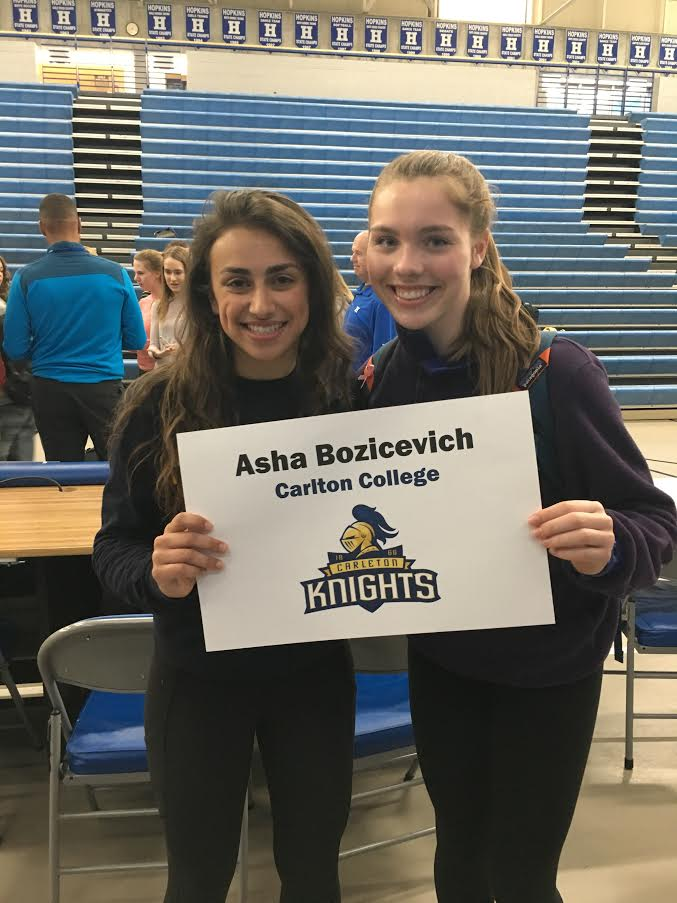 Asha Bozicevich, senior, commits to Carlton College. Bozicevich will be committing for Track and Field.