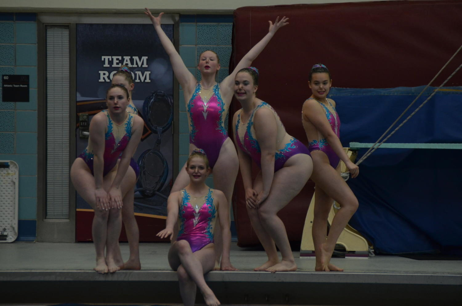 The Extended division team of Lola Brown and Amelia Merfeld, sophomores, Kristen Ho and Alyssa Peck, juniors, and Maggie Cleary and Sophie Dirnberger, seniors, performs their Britney Spears-inspired routine at the 2017 Minnesota Synchronized Swimming State Invitational on May 26.