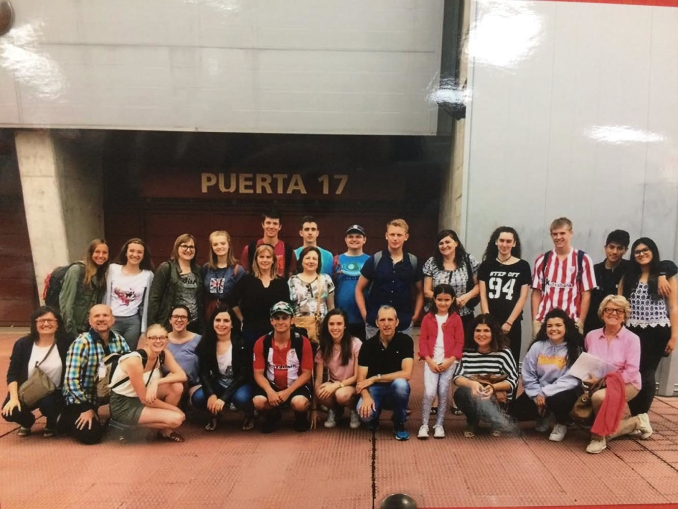 Members of the Spanish trip pose in Logroño with their host families.