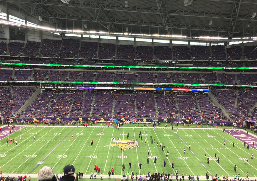 Vikings warm up for game against Cardinals. The Vikings won 30-24.