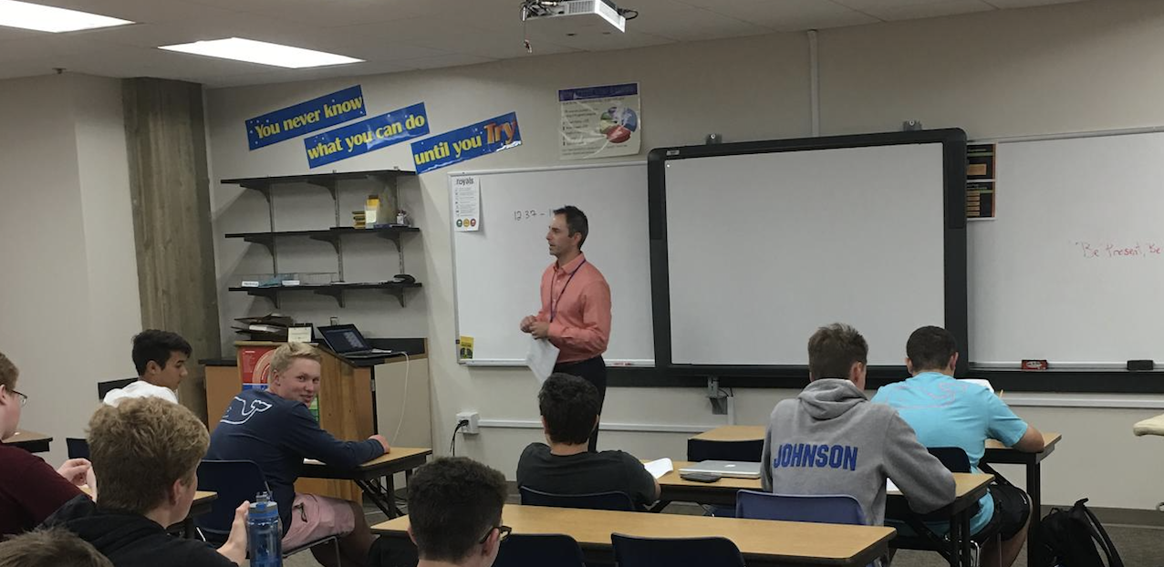 Mr. Theirl instructs class on how to be successful in interviews. Theirl looks to push students to learn new entrepreneurship skills to further their successfulness in the future.