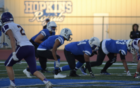 Royals defense prepares for the snap. The Royals fell to the Spring Lake Park Panthers last Friday, September 22nd, 7-20.