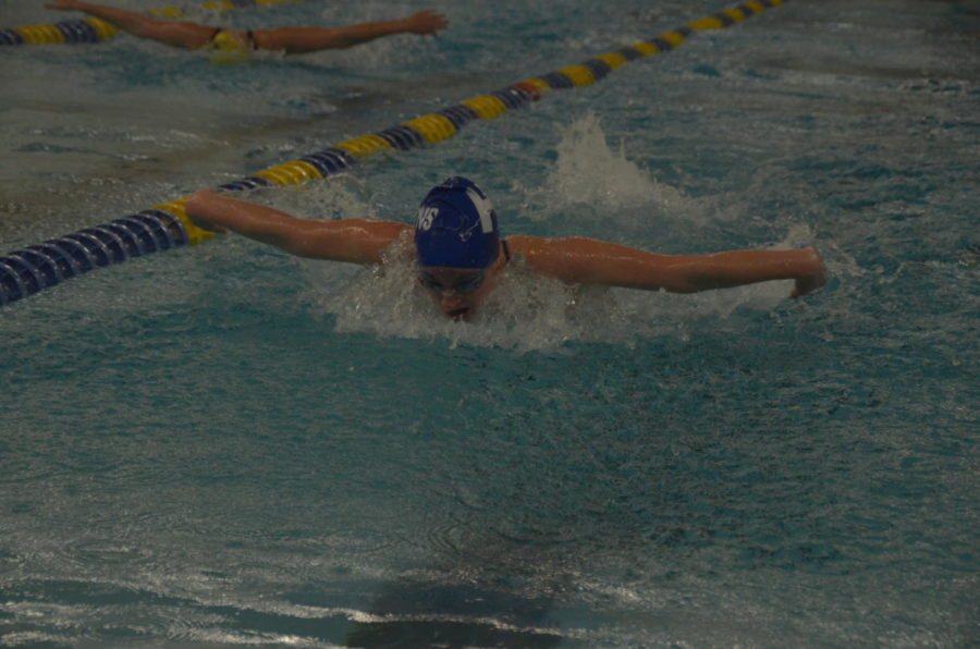 Molly Meland, junior, swims the 100 butterfly.
