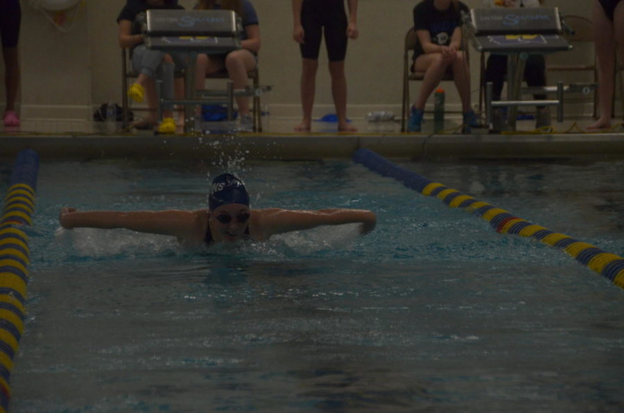 Willow Scherwinski, senior, swims the 100 yard butterfly. Scherwinski placed nineteenth with a time of 1:10.32.