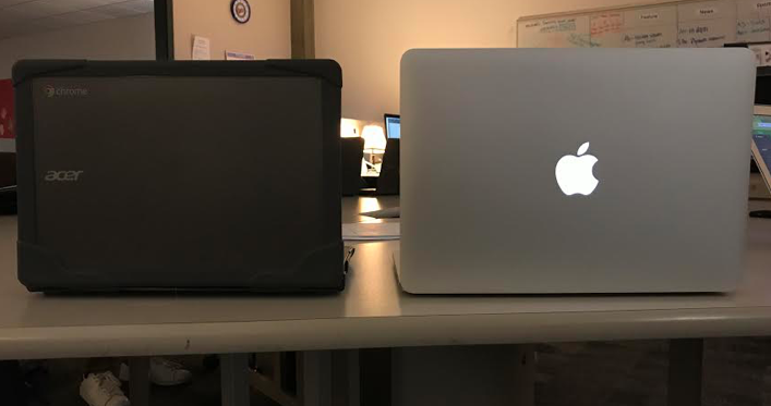 Chromebook on the right and MacBook Pro on left.