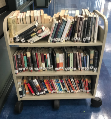 Photo of books on shelves given for free on Friday's.