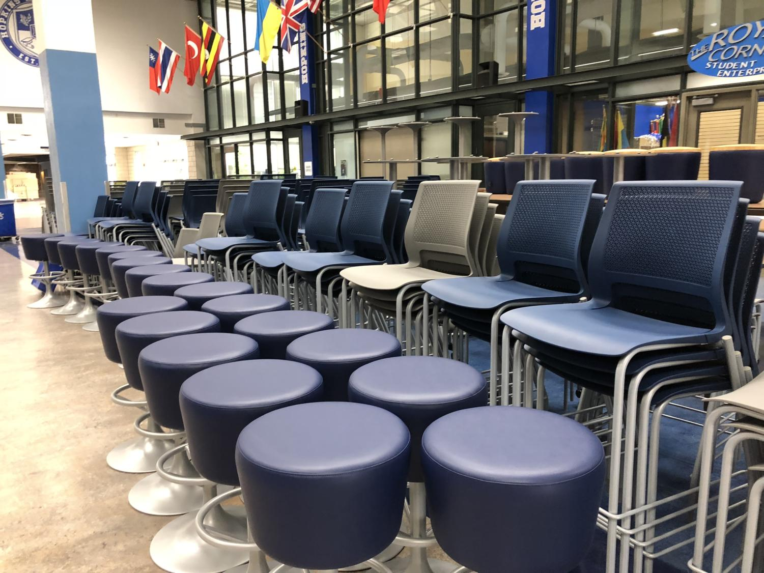 Various stools and chairs at HHS. Classrooms are trying to have more flexible learning spaces this upcoming school year.