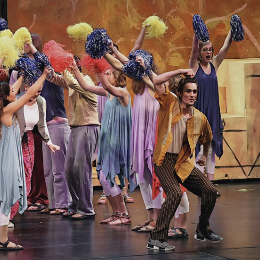 "Gabe Kemper, senior, performing in last year's fall musical, ""Joseph and the Technicolor Dreamcoat."""