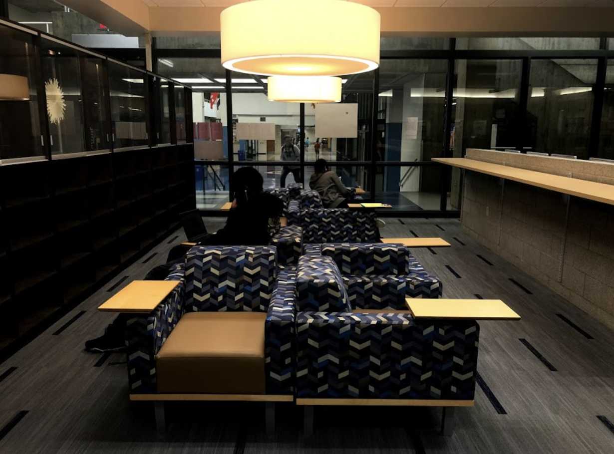 """The media center's new chairs by the front entrance. Victoria Wilson, library media specialist, likes to refer to them as """"pinwheel chairs""""."""