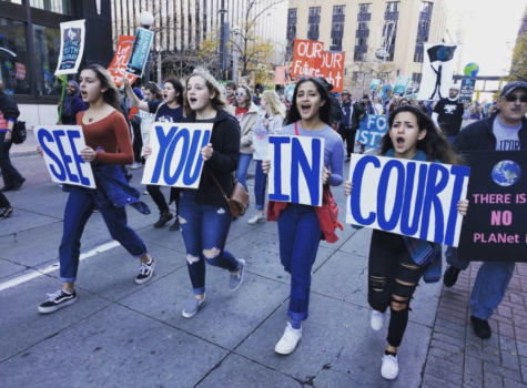 Dems and Earth clubs march alongside environmental activists