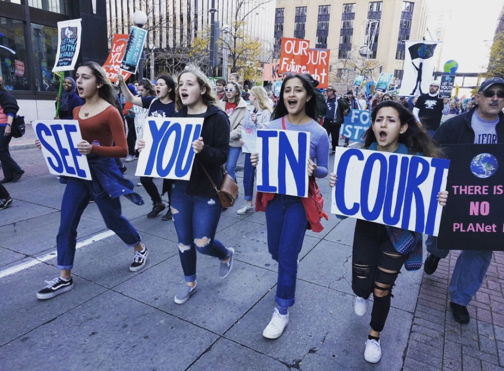 Lili Hoschka, Emily Kirk, Angela Perez, Sagit Nachmias, all seniors, march to the state capitol.