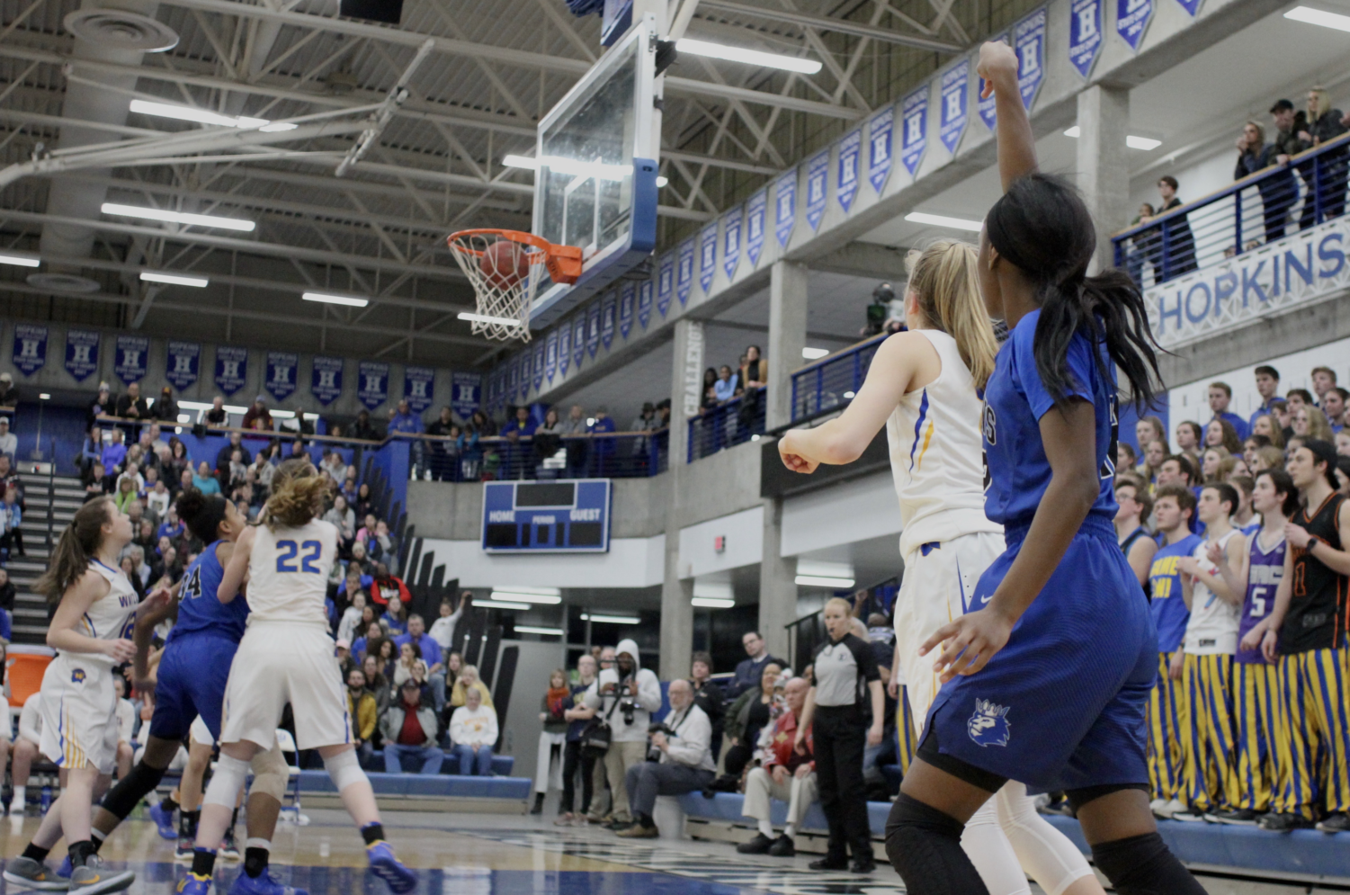 Kayhla Adams, junior, fires up a three from the corner. The Royals took down Wayzata to advance to state.
