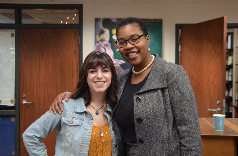 Leah Stillman, senior, and Leslie Redmond, President of Minn. NAACP pose for a picture. Redmond recently visited HHS.