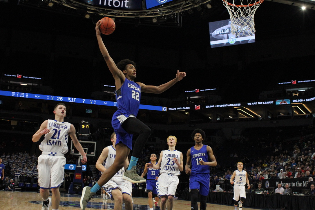 Zeke Nnaji, senior, rises up for a vicious one handed slam. The royals destroyed Cambridge to move on to the semi-finals.