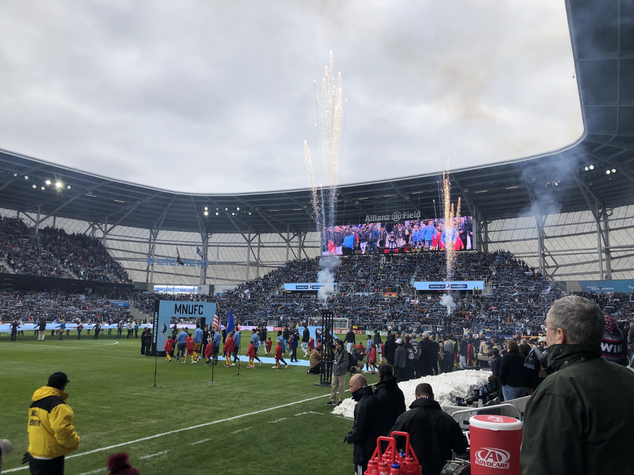 Fireworks going off at the inaugural game at Allianz field versus NYC FC. The Loons tied them 3-3.