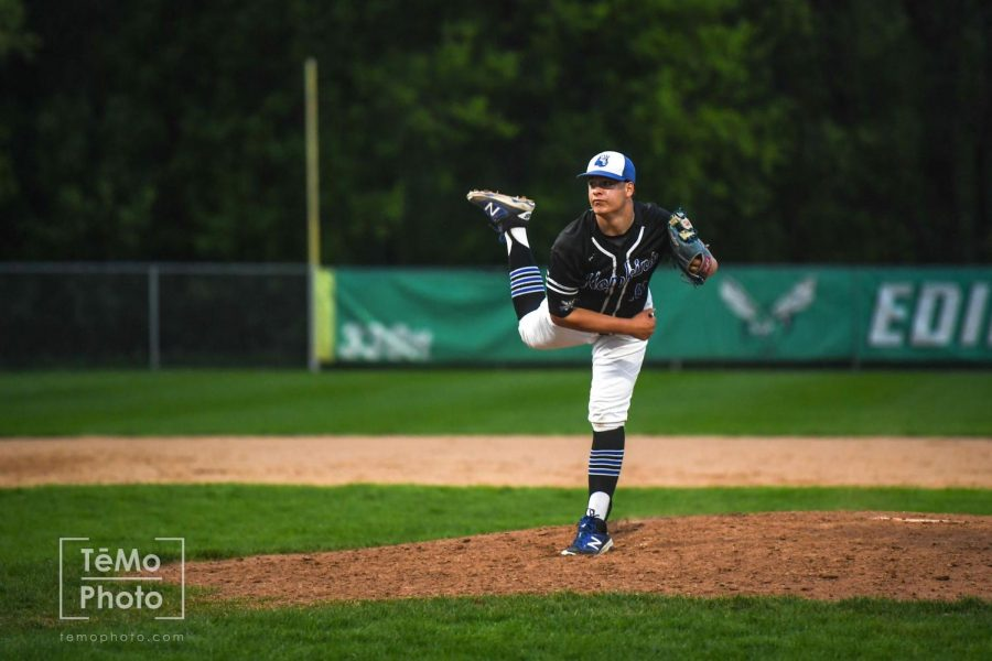 Joey Hurth, senior, pitching in a game against Edina. Hopkins looks to win the section 6A tournament again this year.