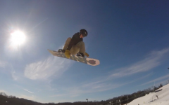 Sam Goldman, sophomore, completes a course at Hyland Hills. Goldman has been snowboarding for most of his life.