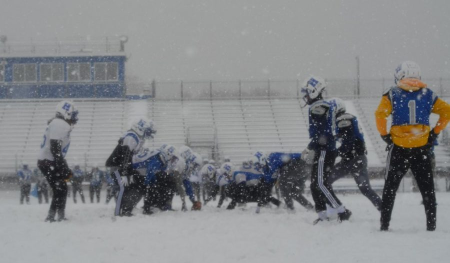 Football+continues+to+practice+despite+severe+weather